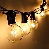 Lichterkette Außen Qomolo Lichterkette Glühbirnen Aussen G40 29er Birnen Garten Beleuchtung für Innen und Draußen mit Ersatzbirnen 9.5 Meter Warmweiß [Energieklasse A+]