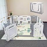 Faltbarer Baby-Laufstall Baby-faltbarer Spielstift Kids Activity Center Sicherheitsspielhof Home Indoor Outdoor Neuer Stift mit Zeichenbrett (Meeresthema)