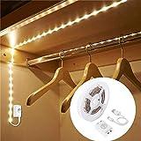 1M Wiederaufladbare Bewegungssensor Garderobenleuchte, LUXJET Flexibler LED-Streifen mit 30LED, PIR und Lichtsensor, warmweißes Nachtlicht für Wandschrank
