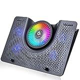 KLIM Nova + Laptop-RGB-Kühler- 11 bis 19 Zoll + Laptop-Gaming-Kühlung + USB-Lüfter + Stabil und leise + Mac- und PS4-kompatibel + Neuheit 2021