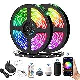 Olafus 20M Wifi LED Streifen, RGB LED Strip Smart Kit steuerbar via App, 16 Millionen Farben, 5050 Lichtband Kompatibel mit Alexa, Google, Musik, für Deko Party Weihnachten