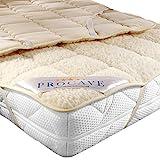 PROCAVE weiches Unterbett mit Lammflor und Schurwolle, hochwertige Matratzen-Topper, Matratzen-Schoner mit 4 Eckgummis, Matratzen-Auflage 90x200 cm