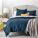 BEDSURE Bettwäsche 200x200 blau Polyester- Bettbezug Set 200 x 200 cm 3 teilig mit Doppelpack 80x80 cm Kissenbezüge für Doppelbett weich und bügelfrei