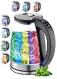 Glas Wasserkocher 1,7 Liter   2200 Watt   100% BPA FREI   Edelstahl mit Temperaturwahl   LED Beleuchtung im Farbwechsel   Teekocher   Warmhaltefunktion   Temperatureinstellung (40°C-100°C)