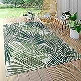 Paco Home In- & Outdoor Teppich Flachgewebe Jungel Gecarvtes Florales Palmen Design Grün, Grösse:140x200 cm