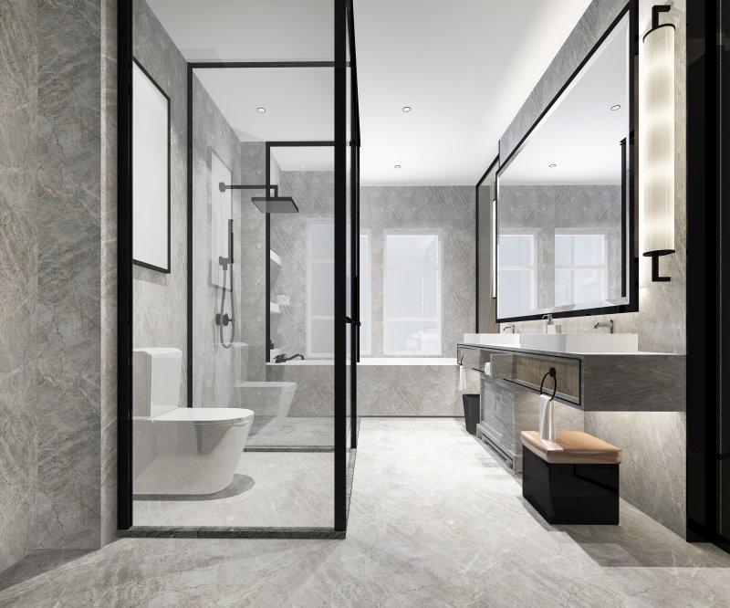 Modernes Badezimmer mit schwarzer Regendusche