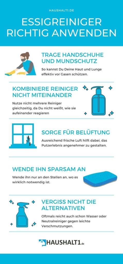 Infografik dazu, was Du beim Putzen mit Essigreiniger beachten musst.