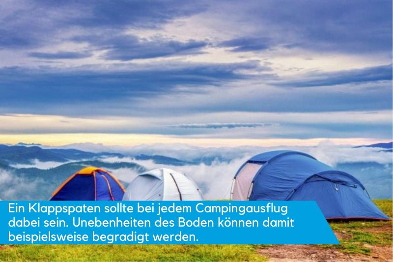 Klappspaten können beim Camping eingesetzt werden