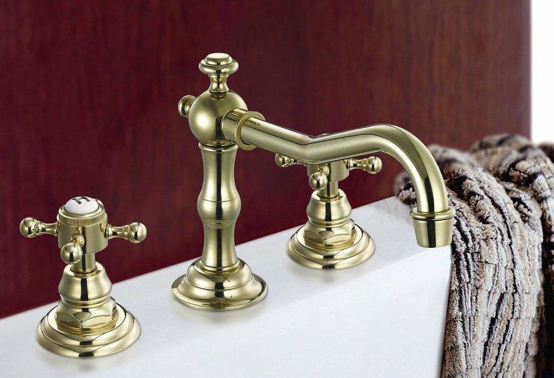 Goldene zwei Griff Waschtischarmatur