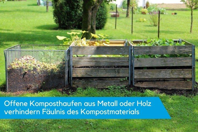 Offene Komposter aus Holz oder Metall