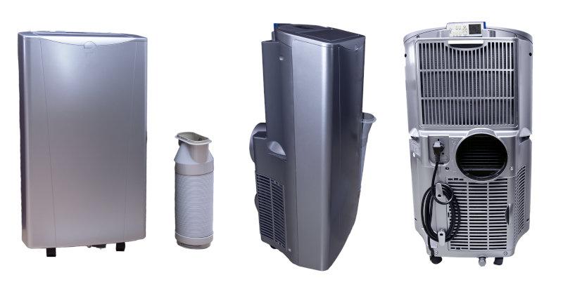 Eine mobile Klimaanlage mit Abluftschlauch fotografiert aus verschiedenen Winkeln.